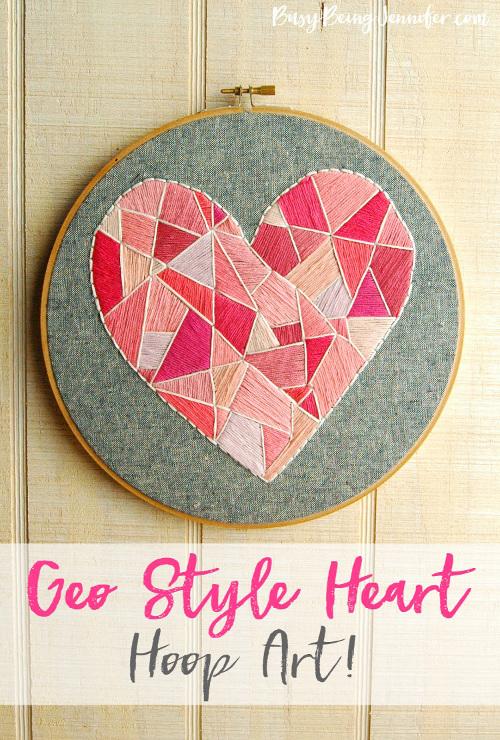 Geo Style Heart Hoop Art