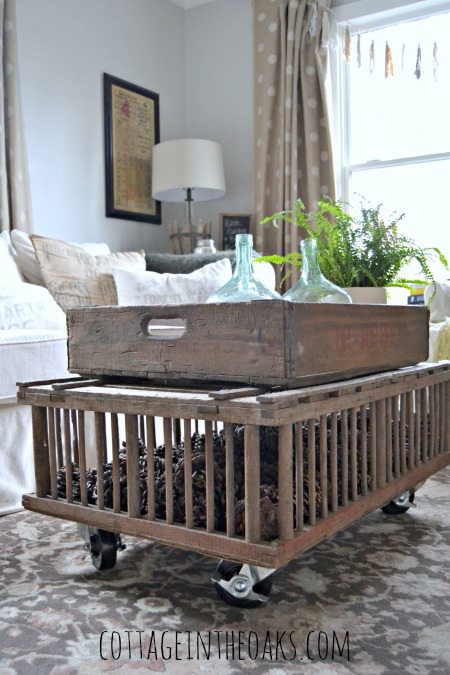 DIY Vintage Chicken Crate Coffee Table