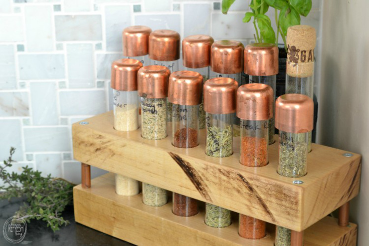 DIY Spice Rack with Test Tubes