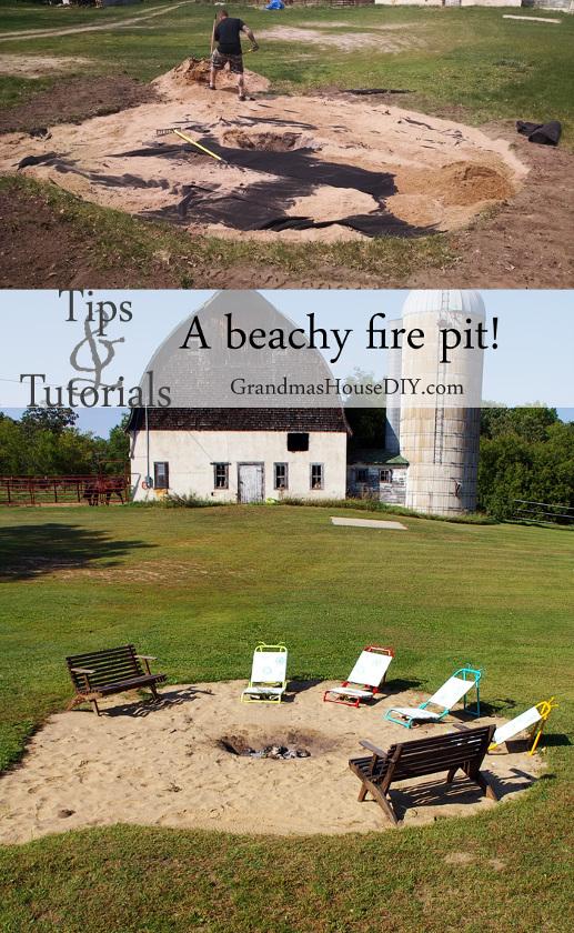Beachy low maintenance Backyard Fire Pit