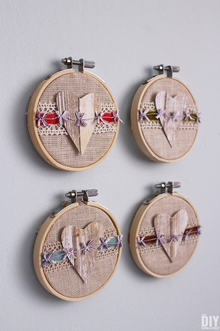 Embroidery Hoop Valentine Art. Fun DIY embroidery hoop art tutorial for Valentine's Day.