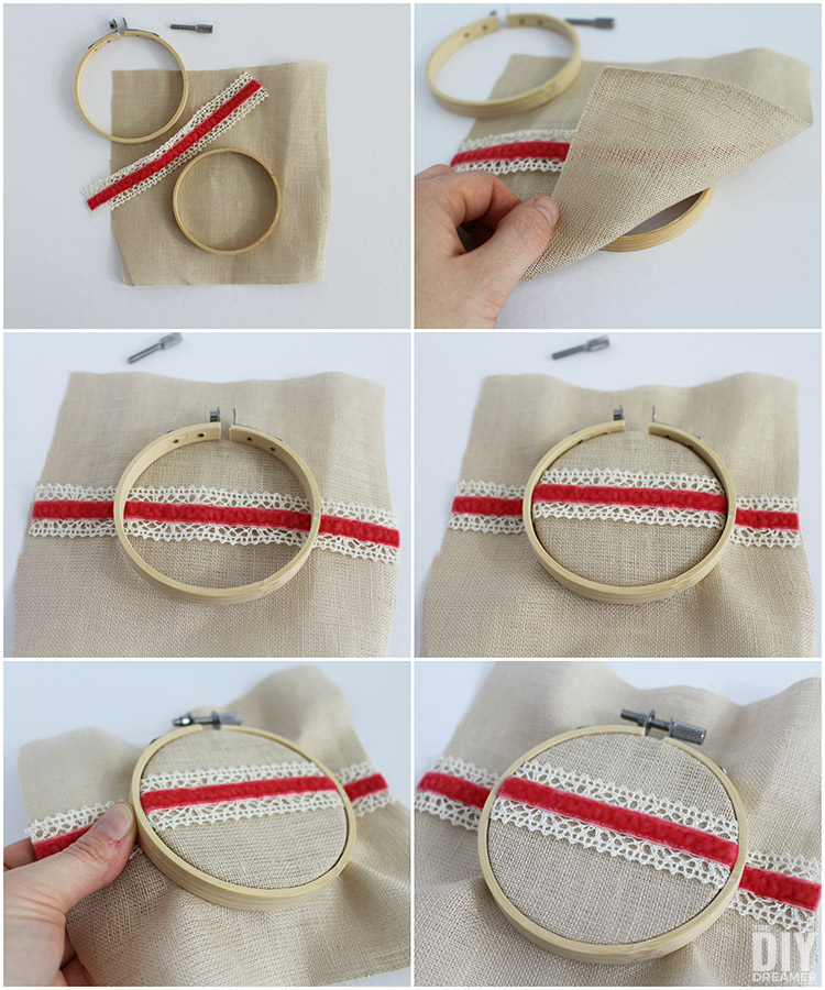 How to insert fabric into an embroidery hoop.