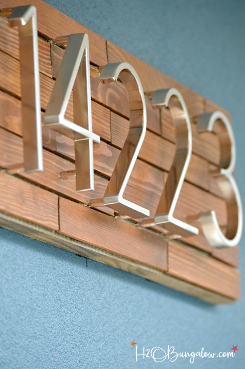 DIY Horizontal Wood Slat Address Plaque Tutorial