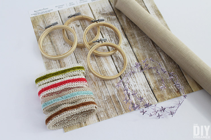 Supplies needed to create embroidery hoop art