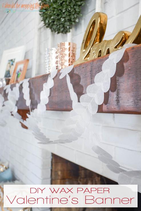 DIY Wax Paper Valentine's Banner
