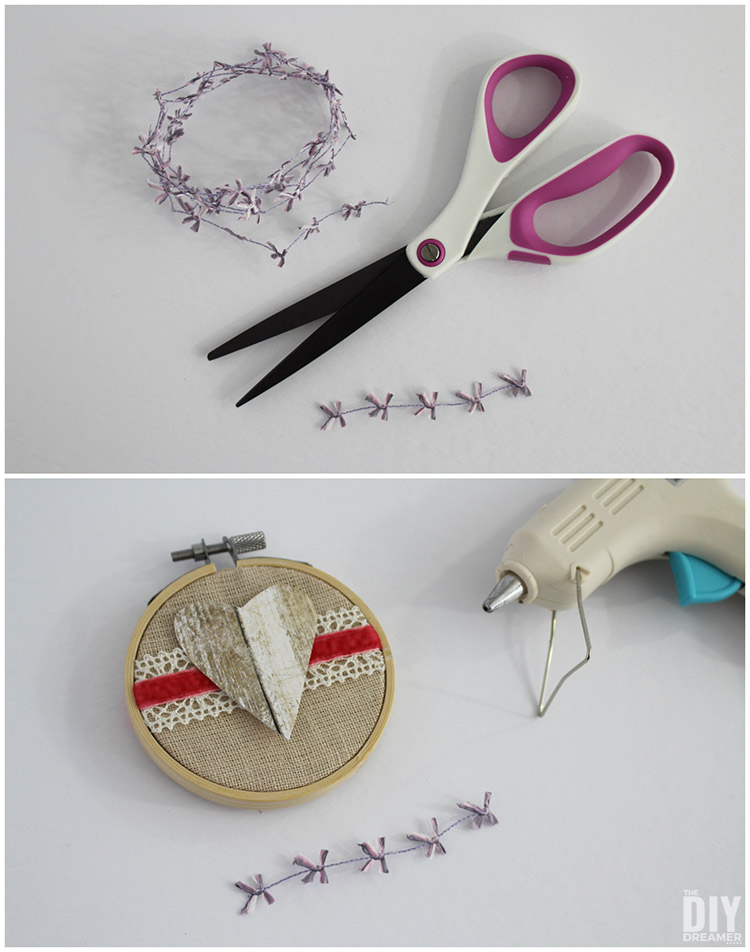 Use hot glue to add embellishments to embroidery hoops.