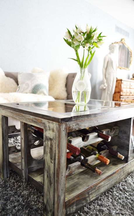 DIY Coffee Table with Wine and Wine Glasses Rack. Inspiration Projects to get your creative juices flowing.
