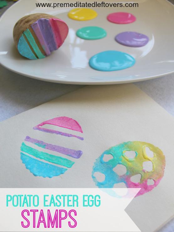 Handmade Potato Easter Egg Stamps