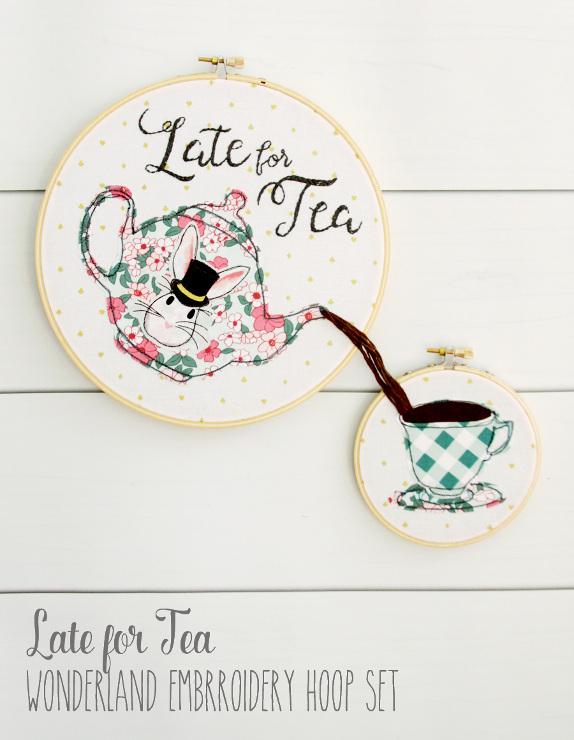 Late For Tea – Wonderland Embroidery Hoop Set