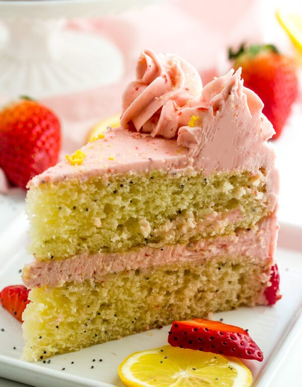 Lemon Poppyseed Cake with Strawberry Buttercream