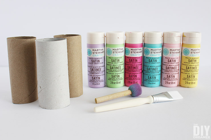 Painting toilet paper tubes