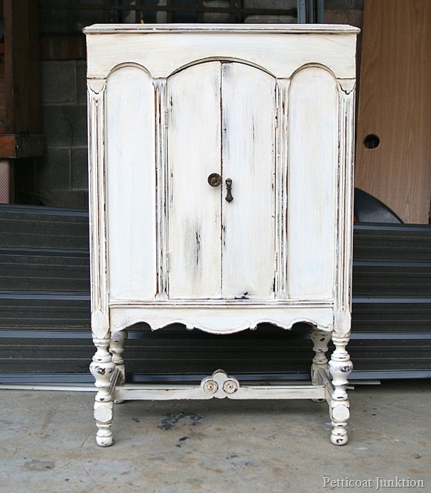 Antique Finish White Paint Distressed Radio Cabinet Redo