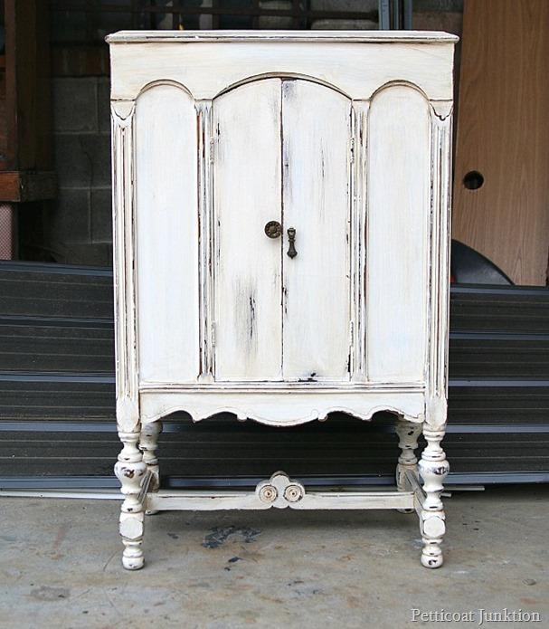 Antique Finish White Paint Distressed Radio Cabinet Redo