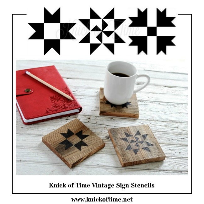 DIY Salvaged Wood Quilt Block Coasters and Ceramic Tiles