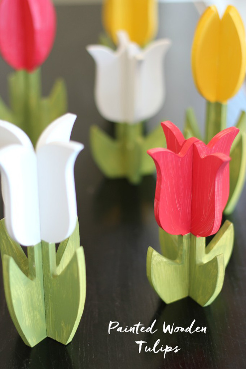 DIY Painted Wooden Tulips