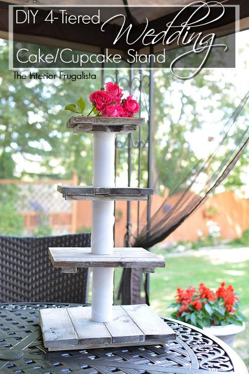 DIY Rustic Wedding Cake and Cupcake Stand