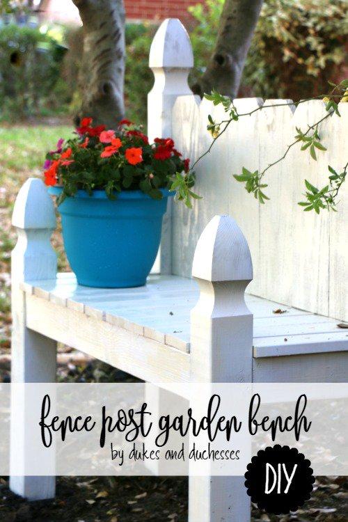 DIY Fence Post Garden Bench