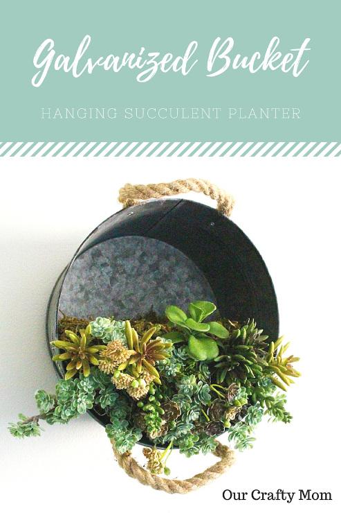 Galvanized Bucket Hanging Succulent Planter