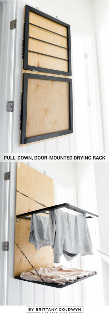 DIY Pull-Down, Door-Mounted Drying Rack