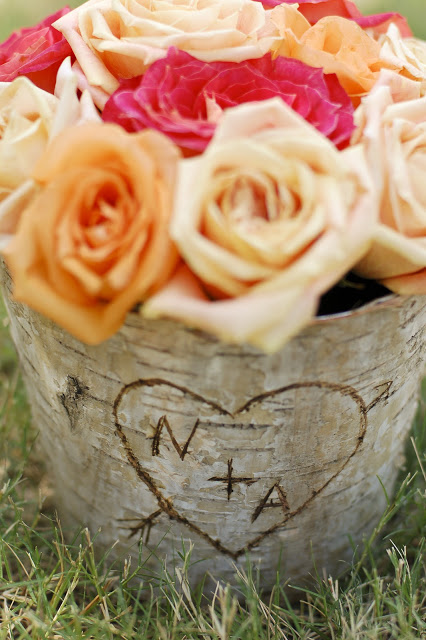 Carved Initial Rustic Centerpieces