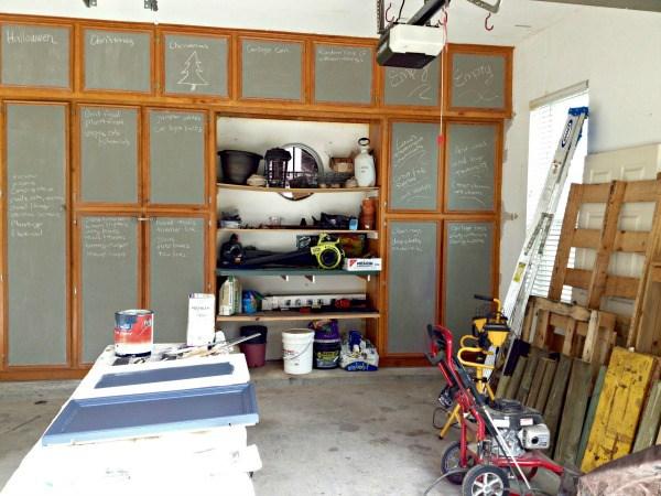 Garage Makeover with DIY Shelves and Chalkboard Cabinets