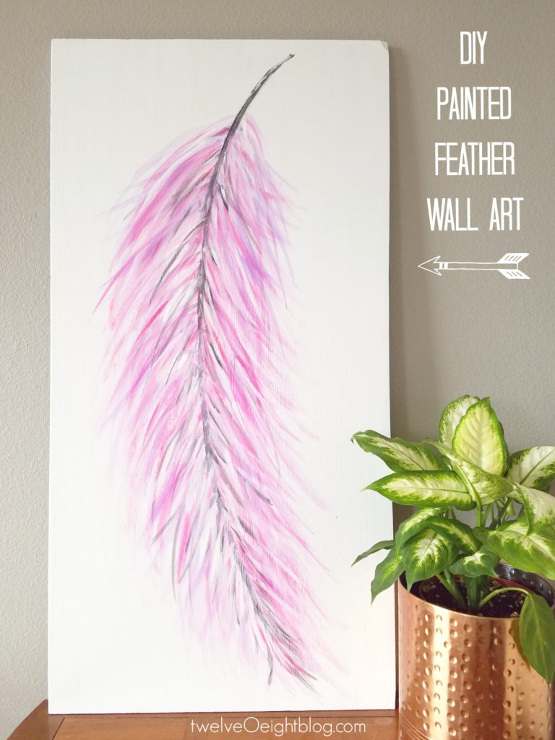 DIY Painted Feather Wall Art