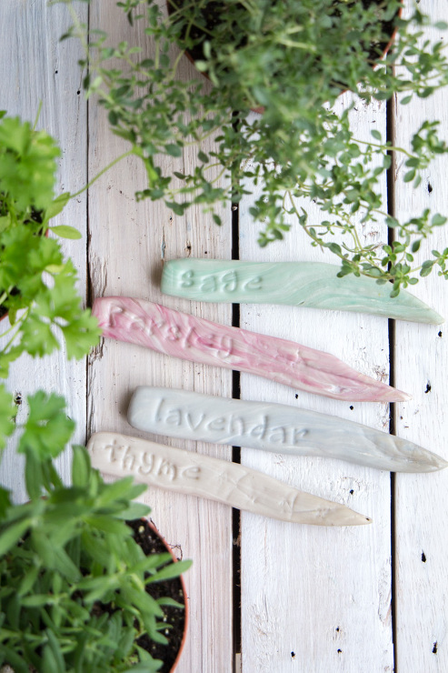 Plant Labels: DIY Stamped Clay Herb Garden Markers