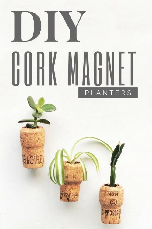 DIY Cork Magnet Planters