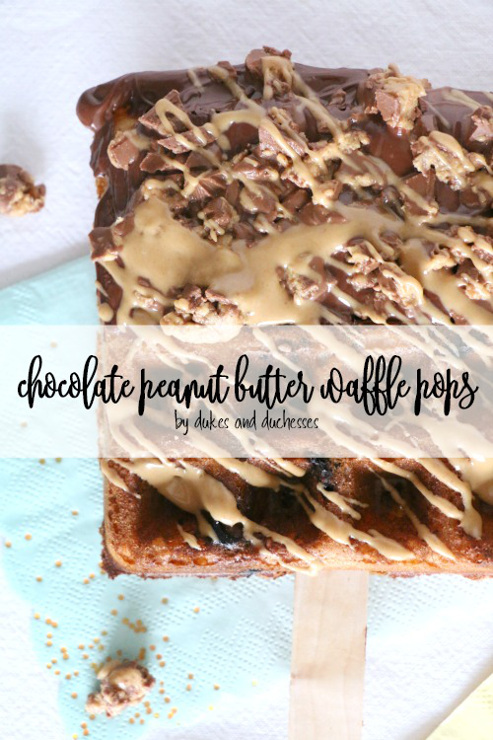 Chocolate peanut butter waffle pops from dukes and duchesses