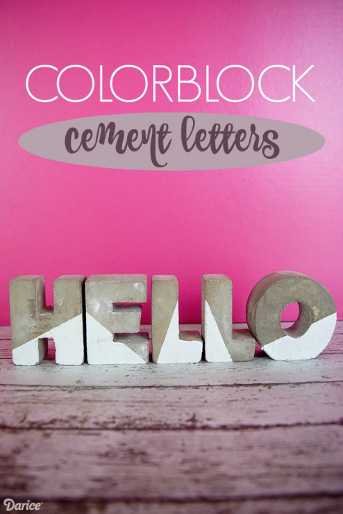 Colorblocked Cement Letters
