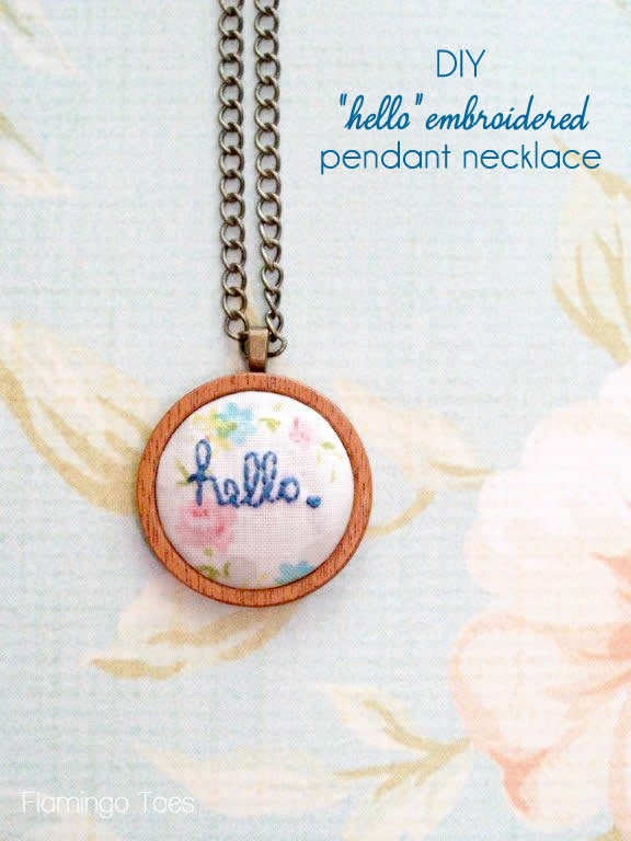 """""""Hello"""" Embroidered Pendant Necklace"""