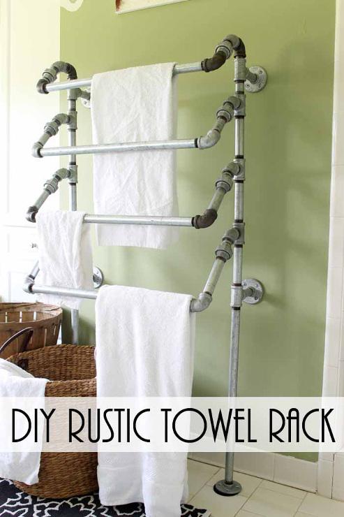 DIY Rustic Towel Rack from Pipes