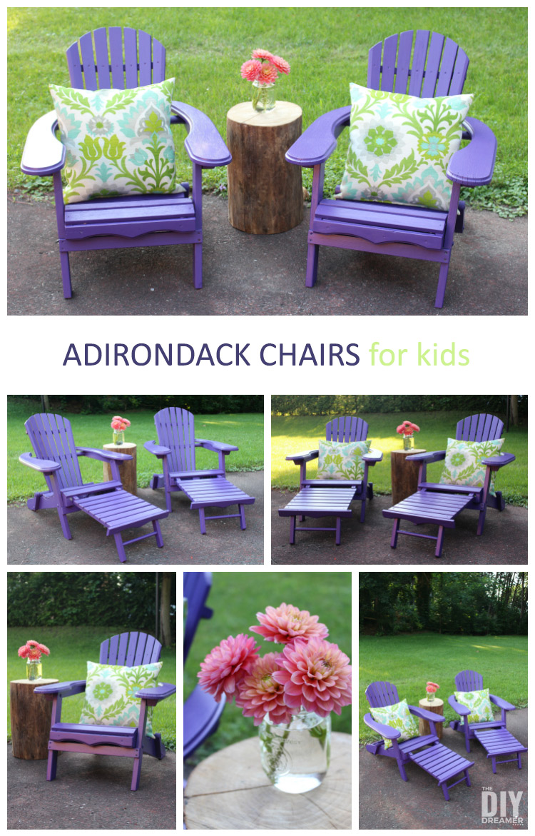 Create a beautiful outdoor space for your kids with comfy Adirondack chairs. Such a great way to encourage kids to spend time outside. A great place to do some reading too!