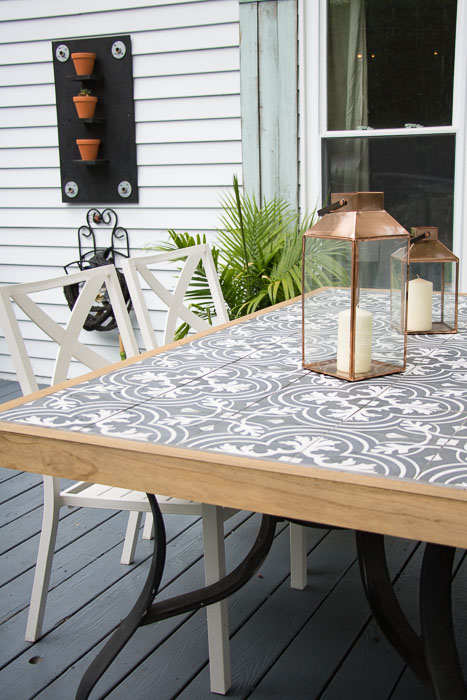 DIY Tile Tabletop. How to tile a glass top patio table.