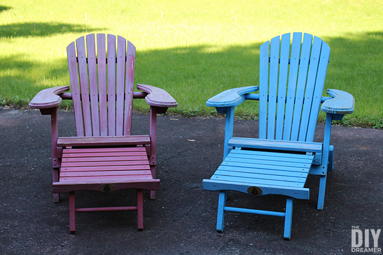 Outdoor chairs with footrest that need a fresh coat of paint