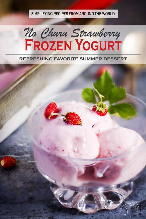 No Churn Strawberry Frozen Yogurt