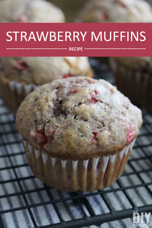 Delicious Strawberry Muffins made with freshly picked strawberries. The muffins can also be frozen so that they can be enjoyed later!