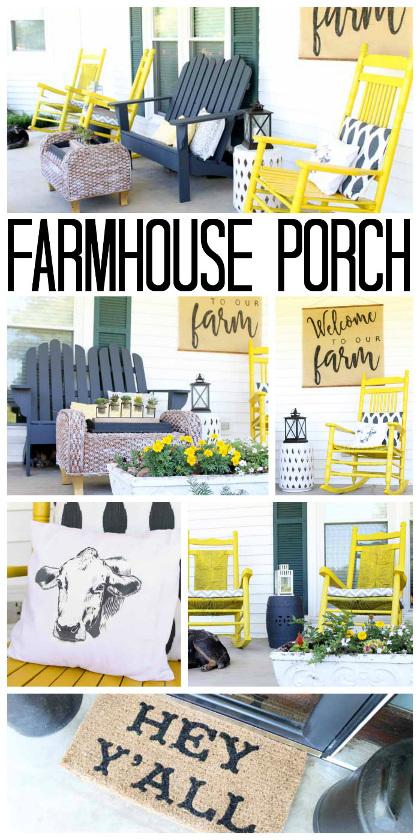 Vintage Farmhouse Decor on the Porch