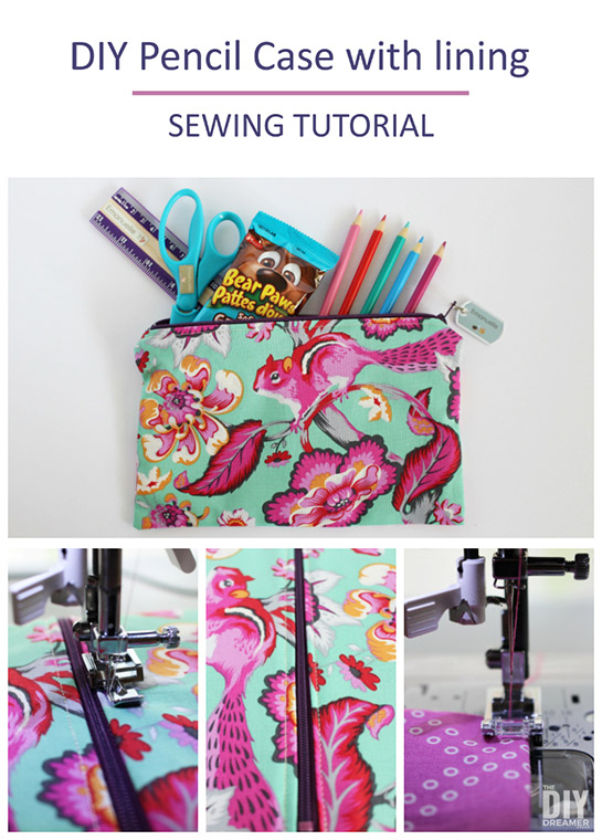 Back to school DIY Pencil Case with lining! Help your child be excited with back to school by sewing a pencil case using fabric they chose. Great sewing tutorial for beginners.