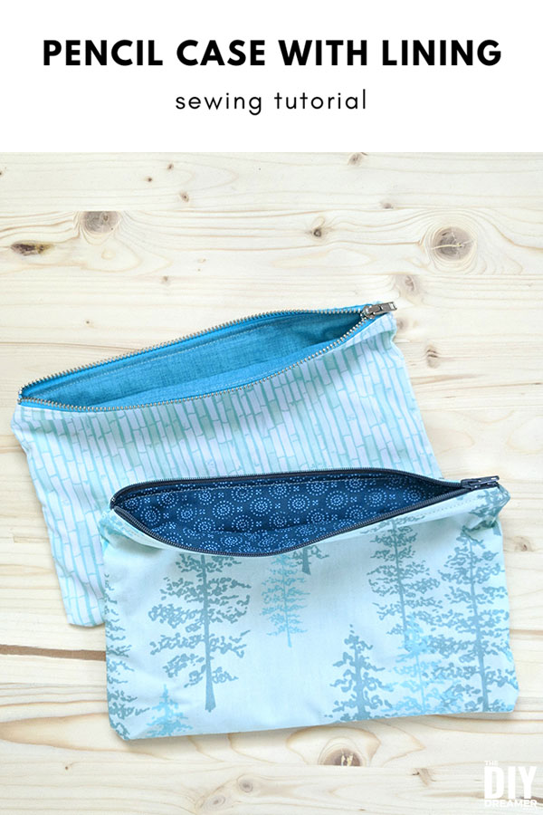 DIY Pencil Case with lining! Help your child be excited with back to school by sewing a pencil case using fabric they chose. Great sewing tutorial for beginners.