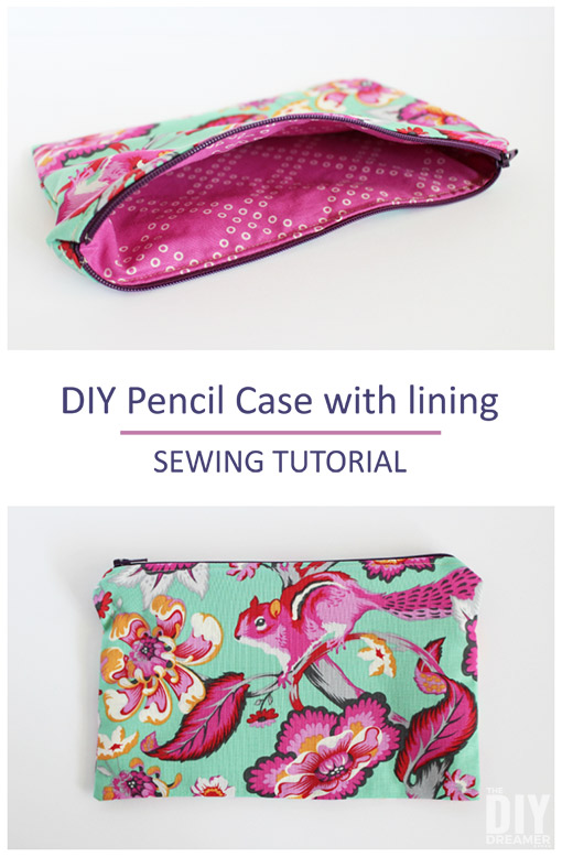 DIY Pencil Case with lining. Great sewing tutorial for beginners.