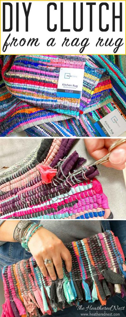 DIY Clutch made from a rag rug.