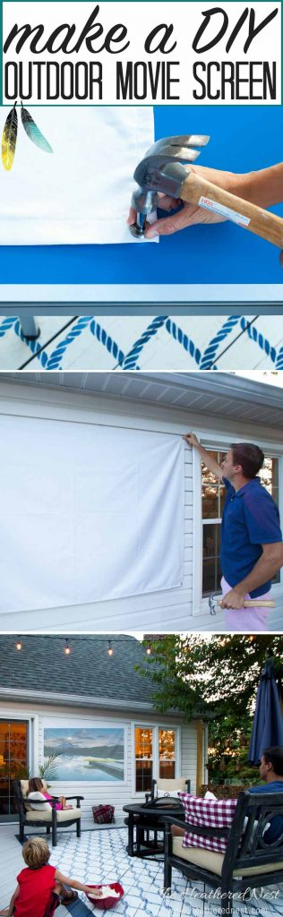 DIY Outdoor Movie Screen. Fun sewing tutorial that even a beginner can sew!