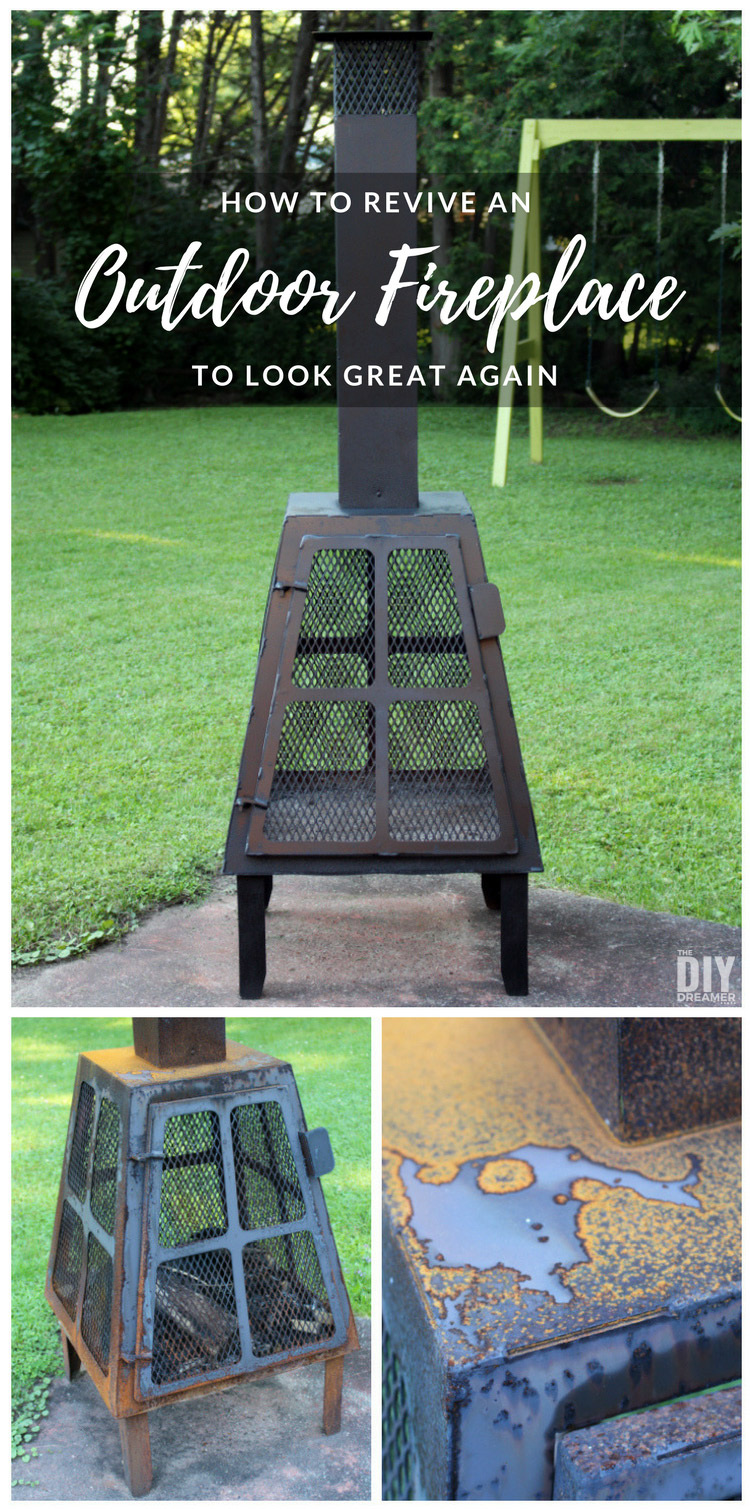 Reviving a rusty outdoor fireplace to look great again. So quick and easy to do!