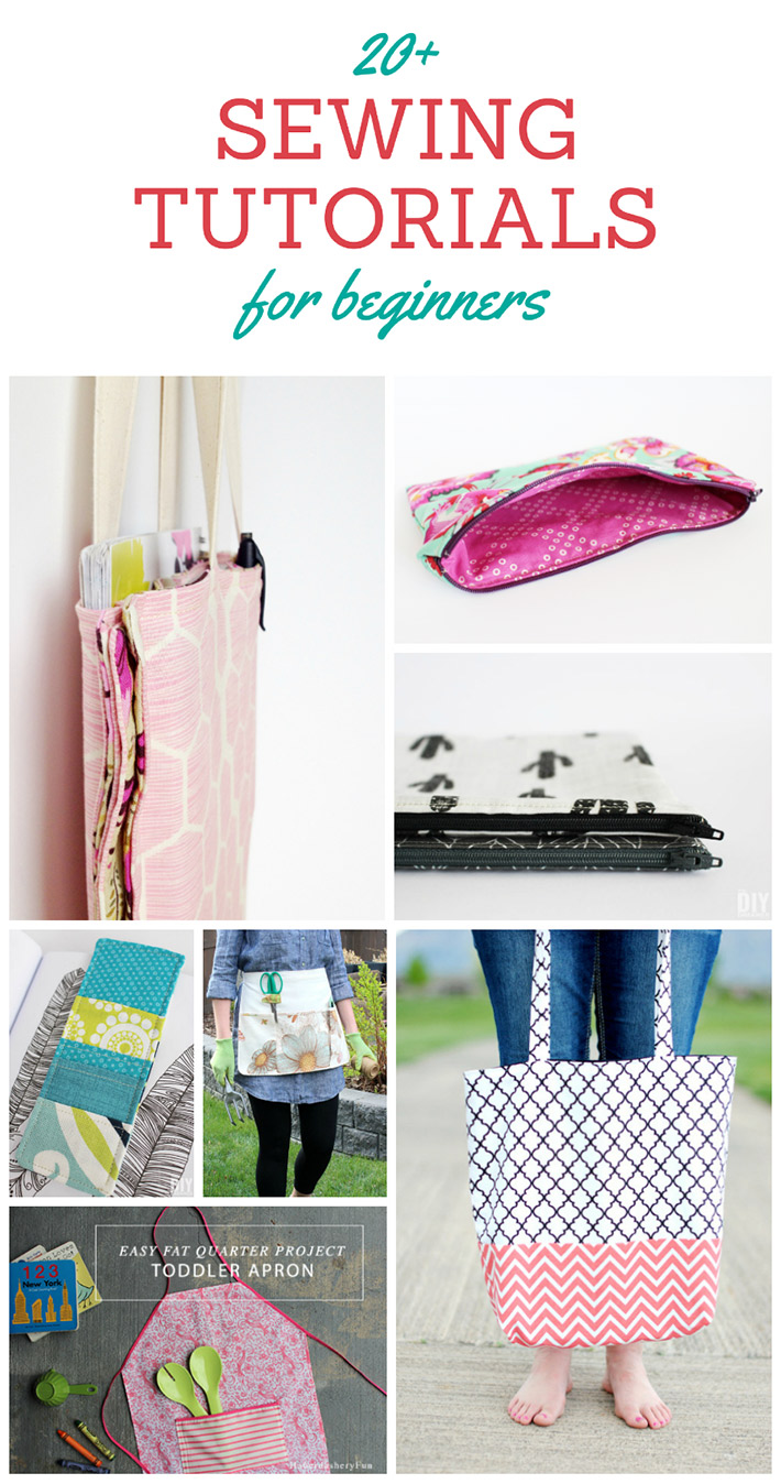 20+ Sewing Tutorials for Beginners. A great collection of sewing tutorials that are perfect for beginners. Happy sewing!
