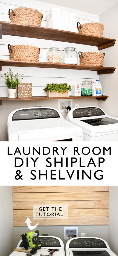 DIY Laundry Room Shiplap and Shelving