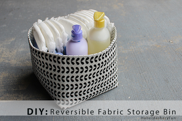 Sewing tutorials for beginners: DIY Reversible Fabric Storage Bin