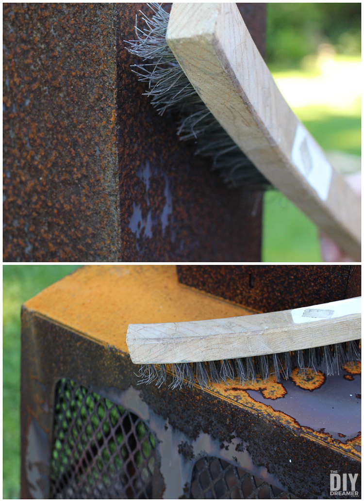 How to remove rust from an outdoor fireplace.
