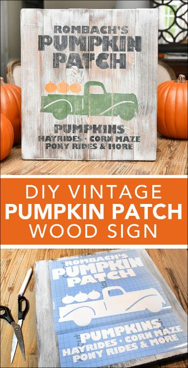 DIY Vintage Pumpkin Patch Wood Sign