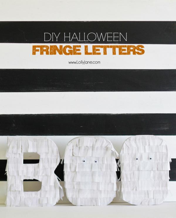 DIY Halloween Fringe Letters. Fun BOO Halloween Letters.